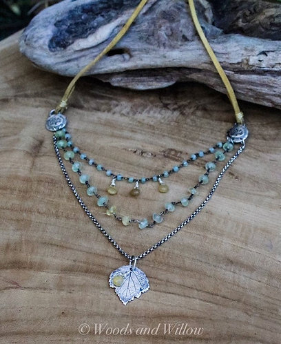 Green Goddess Necklace with Maple Leaf and Aquamarine Stones
