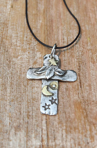 Sterling and Gold Nature's Cross Necklace