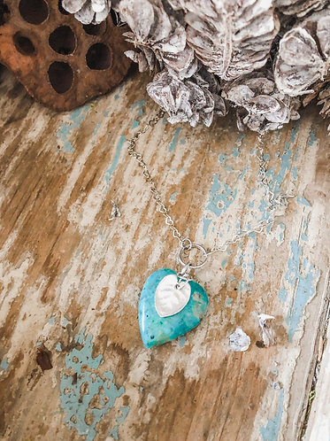Natural Turquoise and Sterling Heart Necklace