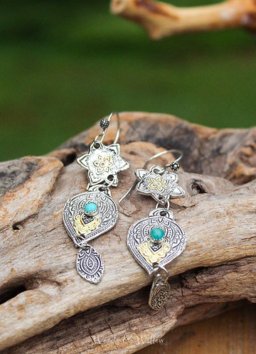 Sterling Silver Triple Charm Mandala Earrings with Turquoise Stone