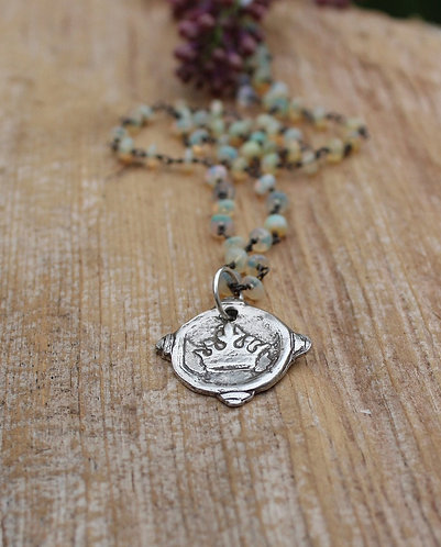 Sterling Silver Crown Charm Necklace with Ethiopian Opals