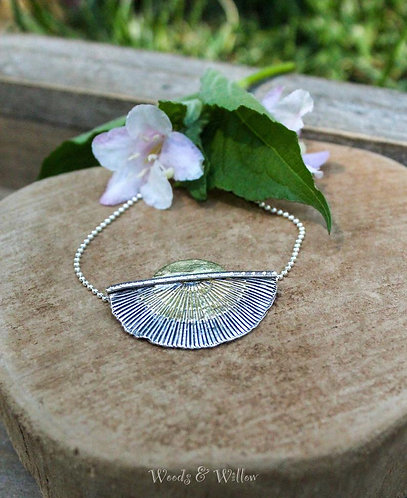 Sterling Silver and Gold Sunburst Necklace