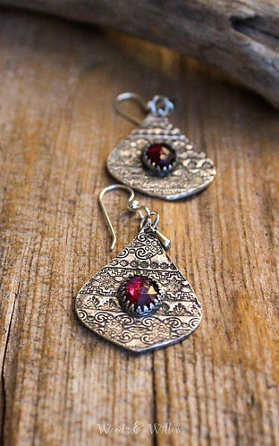 Sterling Silver Moroccan Inspired Earrings with Rosecut Garnets