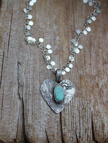 Sterling Silver Heart Necklace with Turquoise Stone on Silver Disc Chain