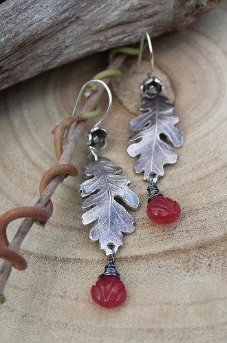 Sterling Silver Oak Leaf Earrings with Berry Chalcedony Gemstones