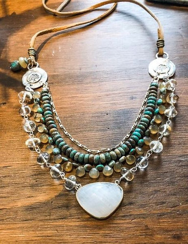 Multi Layer Necklace with Turquoise, Chalcedony and Moonstoneslace