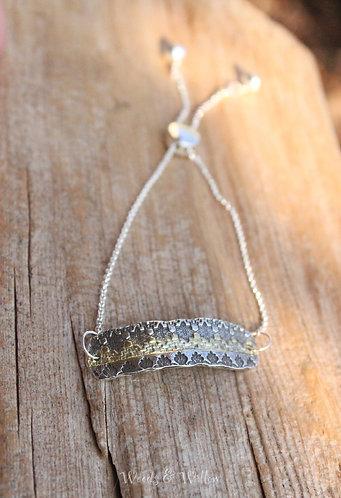 Sterling and Gold Mandala Inspired Bar Bracelet