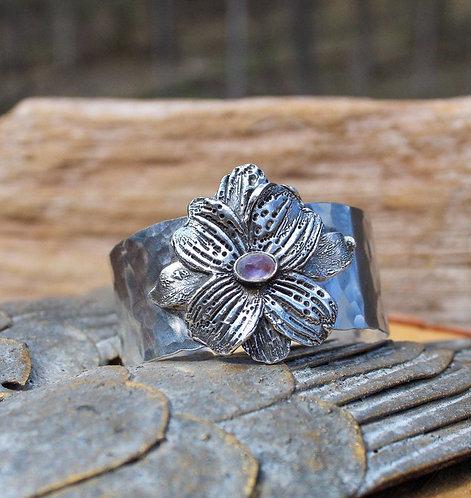 Sterling Silver Dogwood Blossom Cuff, Flower Cuff, Rainbow Moonstone Cuff, Flowe
