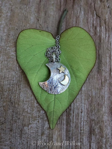Sterling Silver and Gold Crescent Moon Domed Necklace