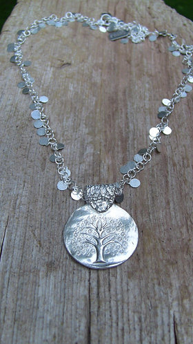 Sterling Silver Tree of Life Necklace on Silver Disc Chain