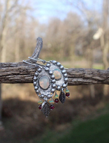 Sterling Silver Ethiopian Opal Earrings with Mint Leaf and Garnets