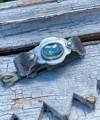 Sterling Silver & Leather Kyanite Haze Bracelet
