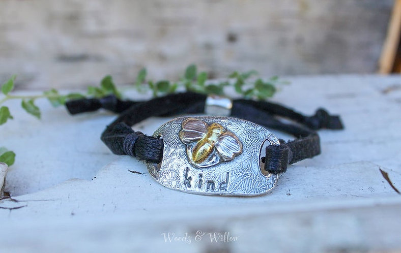Sterling  Silver and Gold Bee Kind Bracelet