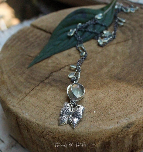 Sterling Silver and Gold Butterfly Necklace with Labradorite and Mother of Pearl