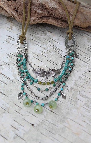 Multi Layer Turquoise and Prehnite Necklace