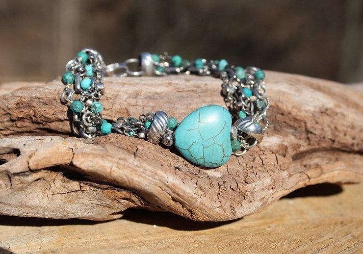 Silver Chain Bracelet, Turquoise Heart Bracelet, Boho Bracelet, Multi Chain Brac