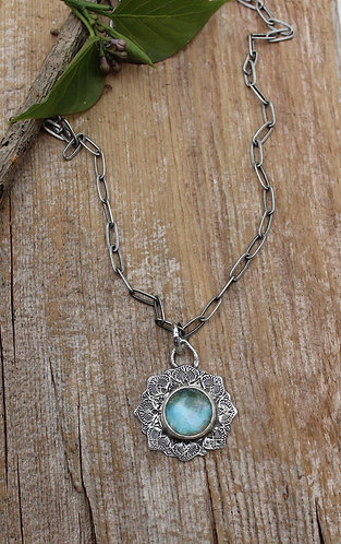 Sterling Silver Mandala Necklace with Chrysocolla and Crystal Doublet