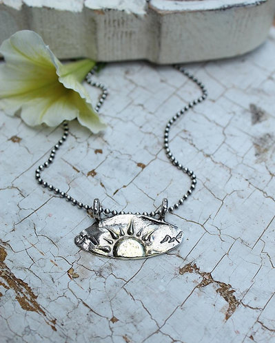 Sterling and Gold Sun Rise Necklace