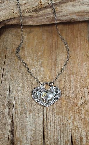 Daisy Petal Heart Necklace