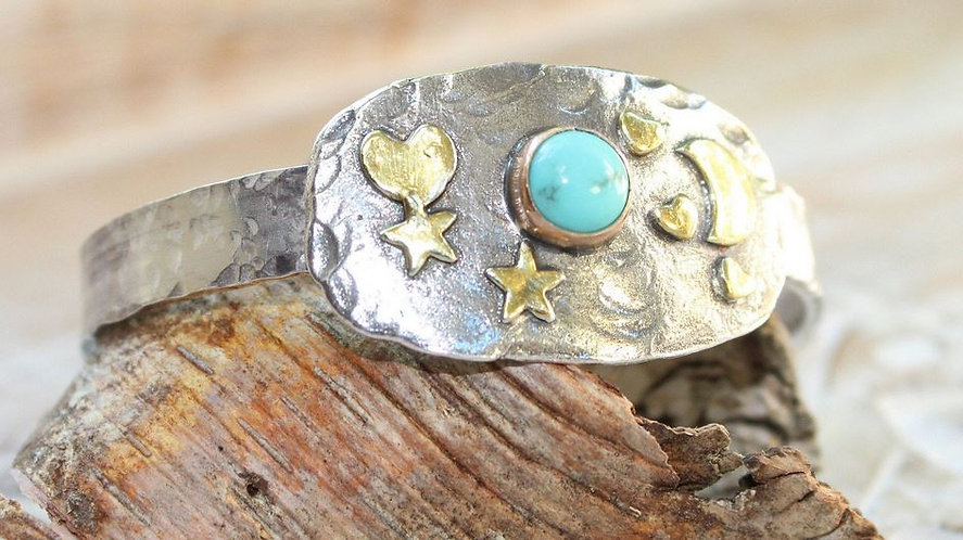Sterling Silver and Gold Celestial Cuff with Turquoise Stone