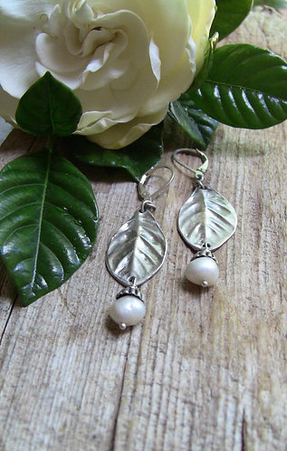 Sterling Silver Gardenia Leaf Earrings with Baroque Pearls