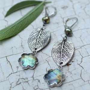 Sterling Silver Sage Leaf and Labradorite Earrings