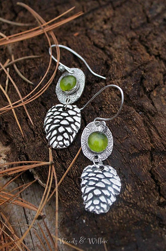 Sterling Silver Pine Cone and Peridot Stone Earrings