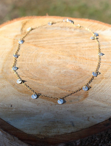 Silver Disc Necklace, Charm Necklace, Layering Necklace, Silver and Gold Necklac