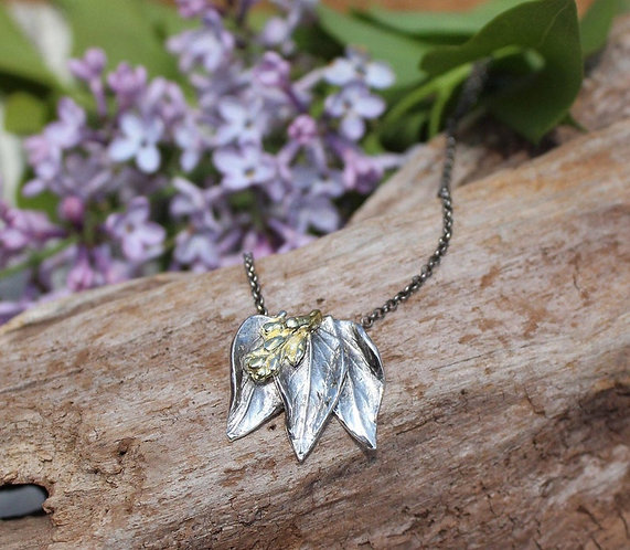Sterling Silver and Gold Lilac Necklace