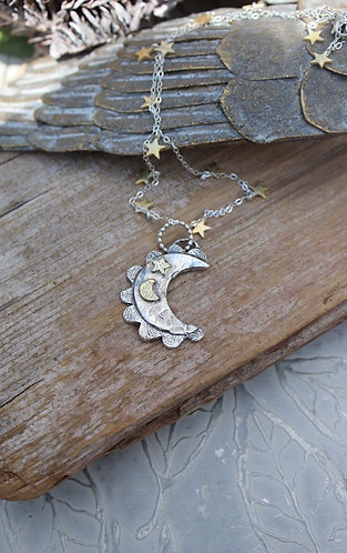 Sterling Silver Crescent Moon Scallop Necklace