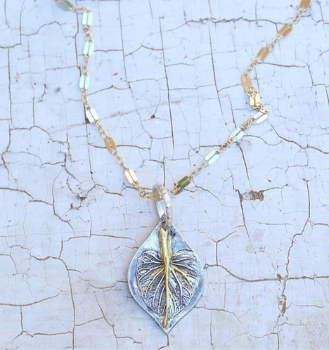 Sterling Silver and Gold Angelica Leaf Necklace