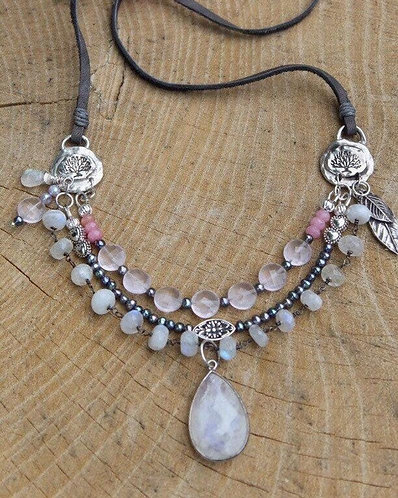 Layered Necklace with Rainbow Moonstones, Grey Pearls and Rose Quartz