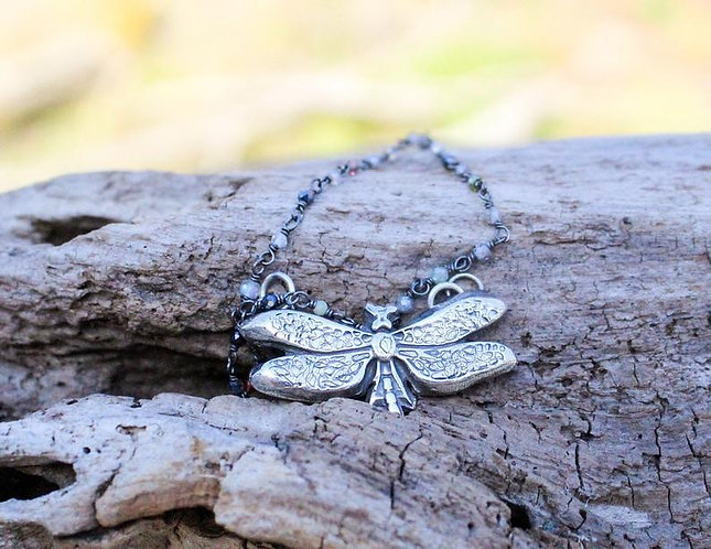 Sterling Silver Butterfly Necklace with Gemstone Beaded Chain