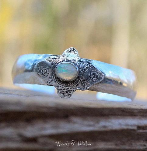 Sterling Silver Mandala Cuff with Ethiopian Opal