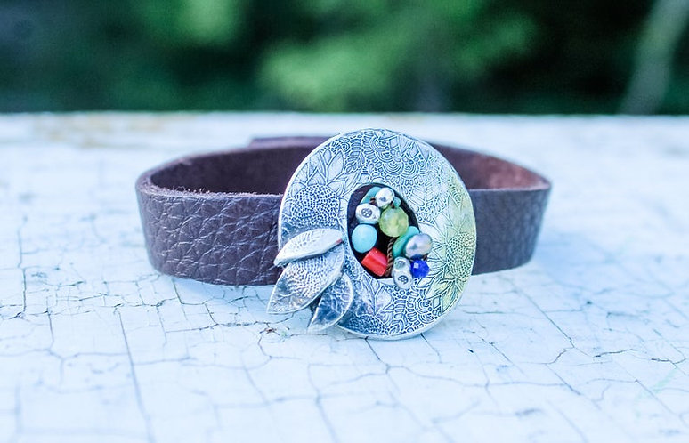 Sterling Silver Flower and Leather Bracelet
