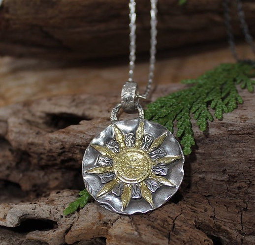 Sterling Silver and Gold Snowflake Necklace