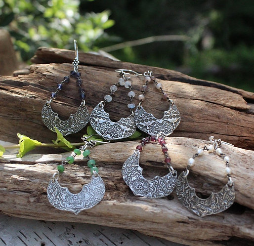 Sterling Silver Moroccan Earrings in Your Choice of Gemstones