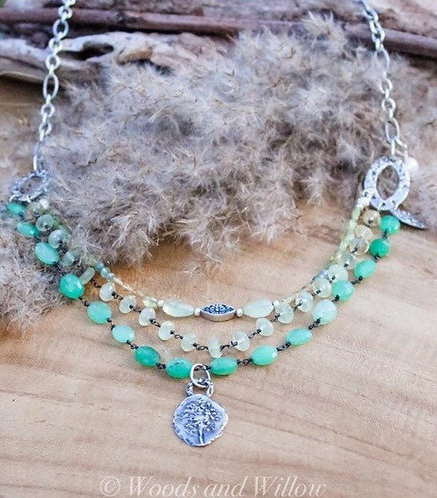 Multi Layered Artisan Necklace with Queen Anne's Lace Charm and Chrysoprase