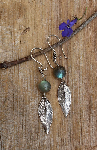 Sterling Silver Wisteria and Labradorite Earrings