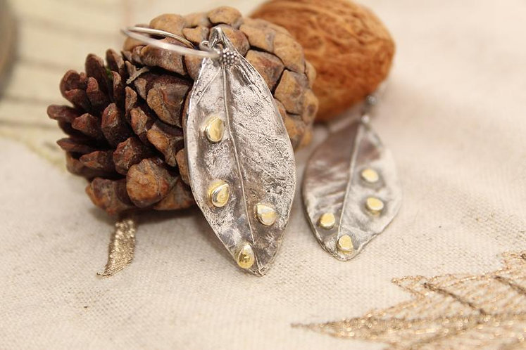 Golden Raindrops Silver and Gold Leaf Earrings