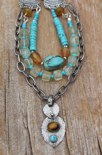 Sterling Money Leaf Necklace with Tiger's Eye and Turquoise Stones