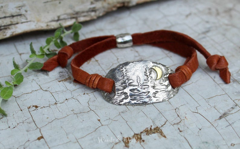 Sterling Silver and Gold Redwood Forest Bracelet