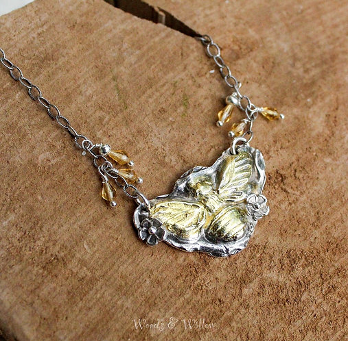 Sterling Silver and Gold Queen Bee Necklace with Citrines