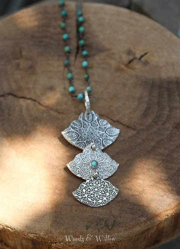 Sterling Silver Triple Charm Moroccan Inspired Necklace with Turquoise Stones
