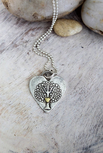 At The Heart of it All, Sterling & Gold Tree of Life Necklace
