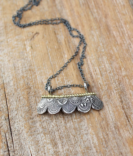 Sterling Silver and Gold Scalloped Necklace