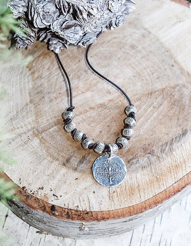 Sterling Silver Tree of Life Necklace with Hill Tribe Beads
