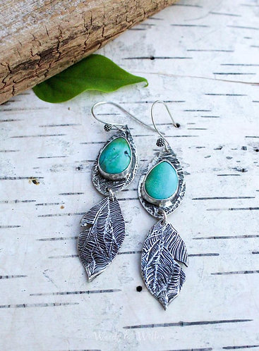 Sterling Silver Tropical Leaf Earrings with Turquoise Stone