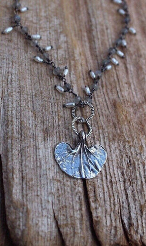 Sterling Silver Dichondra Leaf Necklace on Labradorite and Pearl Chain