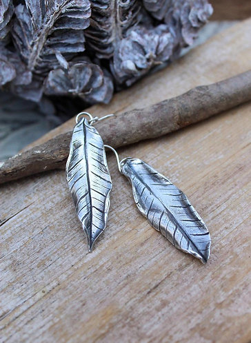 Sterling Silver Banana Leaf Earrings